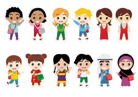 latin american boys: Illustration of Kids Celebrating Diversity