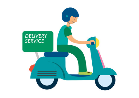 Cute delivery man on blue motorbike. Cartoon character in retro style. It can be used for decorating of invitations, cards, menu, decoration for bags and clothes.