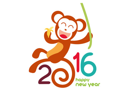 2016 Happy Chinese New Year of the Monkey with China cultural element icons.