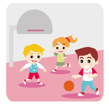 Father Playing Basketball with Kids at Basketball Court