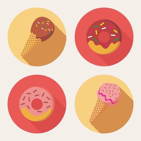 ice cream soft: Vector of Doughnut and Ice Cream in flat design