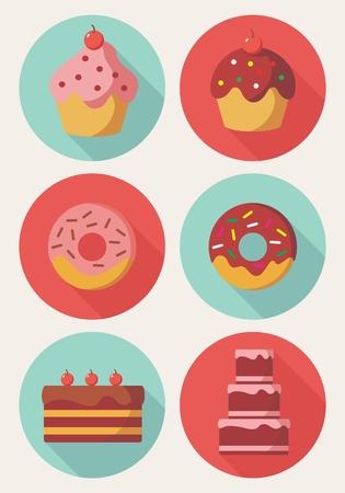 doughnut: Vector of Cake, Doughnut and Muffin in flat design Stock Photo