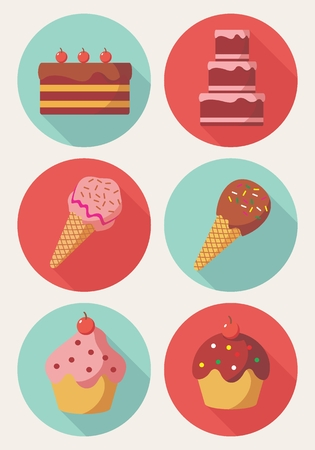 Vector of Cake Ice Cream, and Muffin in flat design