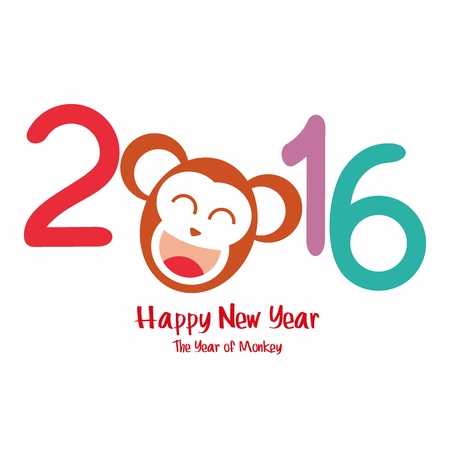 new years card: Happy New Year. Year of the Monkey. Vector Illustration Illustration