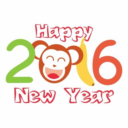 abstract gorilla: Happy New Year. Year of the Monkey. Vector Illustration Illustration