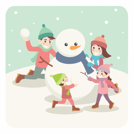 family playing: illustration of Cartoon Family Playing, Ice Skating. Christmas and New Year Holiday Greeting.