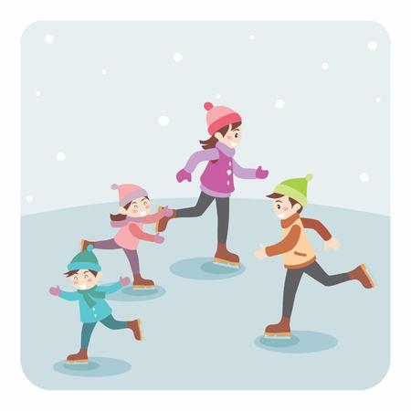 patinaje sobre hielo: ilustración de la familia de la historieta que juega, patinaje sobre hielo. Navidad y Año Nuevo saludo de vacaciones. Vectores