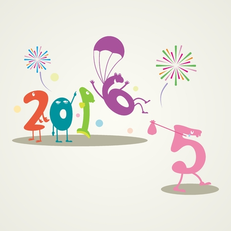 end of the days: Funny Greeting Card - Happy New Year 2016 - Editable, clean sign.