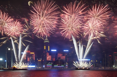 billboard posting: Hong Kong Firework show 2012 Stock Photo