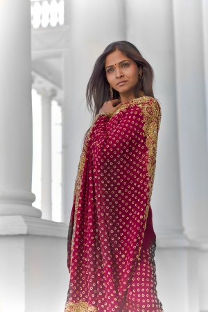 30 something: A young, 30 something, Indian woman with long black hair, dressed in traditional Indian attire (sari), stands near tall white columns for a dramatic and elegant portrait on a bright sunny day