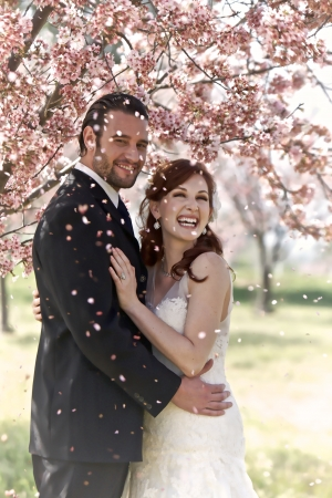 30 something: A young 30 something bridal couple hold each other in a loving embrace while being showered by petals from the blooming cherry blossom tree they are standing under.   Stock Photo