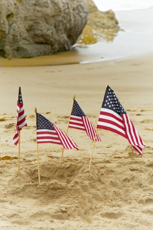 Four small American flags planted in the sand near the shore at the beach