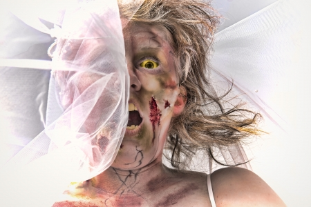 grotesque: Grotesque and bloody female zombie