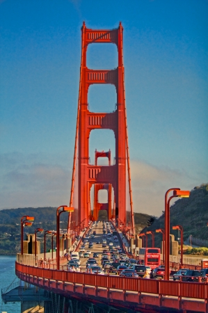 Crossing over the Golden Gate Bridge from Sausalito, California photo