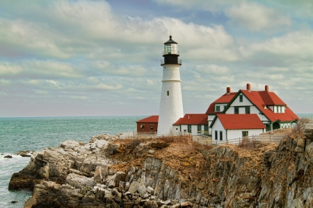 The lighthouse knows as the Portland Headlight is a major landmark in So  Portland, ME   Stock Photo