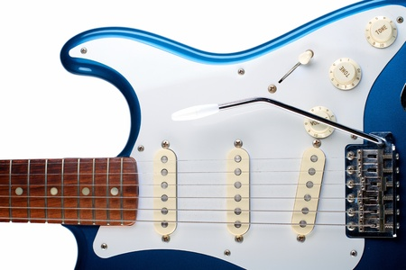 Closeup of Blue and White Electric Guitar