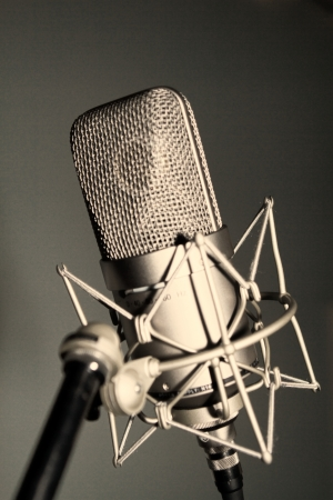 A large studio microphone placed in an isolation cradle