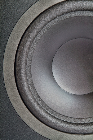 A cross section of a large woofer from an audio speaker