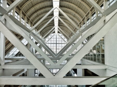Intricate architectural design of ceiling at the Los Angeles Convention Center Zdjęcie Seryjne