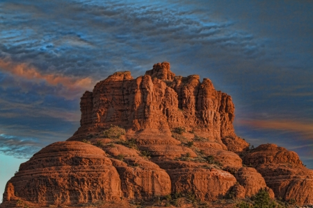 Sunrise at Bell Rock, famous for hiking and is a major rock formation in Sedona, Arizona  USA