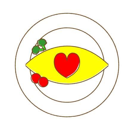 omelet rice heart Ilustração