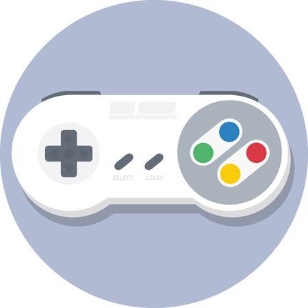 nintendo: Vintage super nintendo SNES gamepad controller flat icon