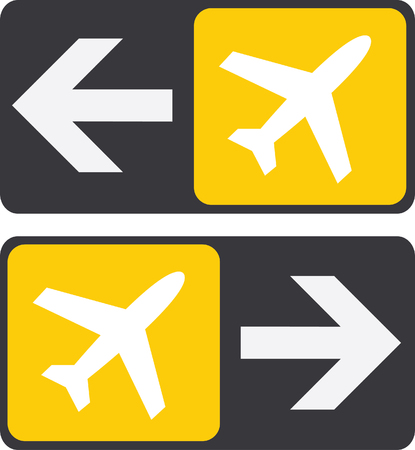 and gate: Arrows to plane sign, set of 2 flat icons.