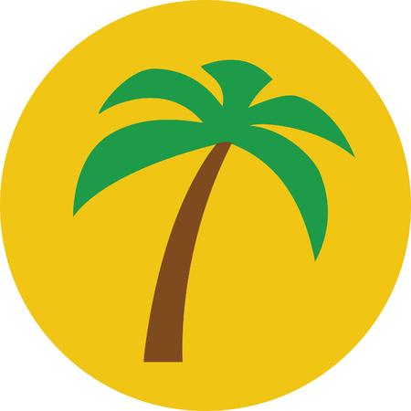 Tropical palm tree suny vector icon