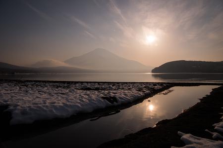Sunset over Lake Yamanaka and Mt. Fuji