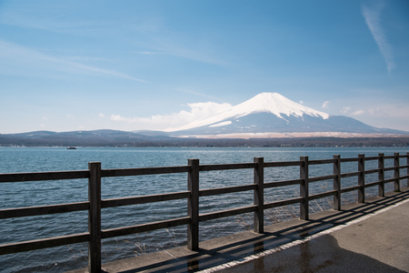 Mt. Fuji over Lake Yamanaka Stock Photo