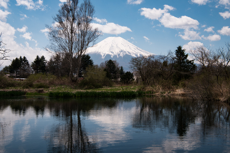 Mt. Fuji reflected in a Pond