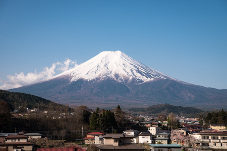 Mt. Fuji over a Town in the Countryside