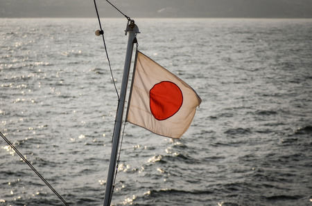 Japanese Flag Flapping in the Wind by the Sea Banque d'images