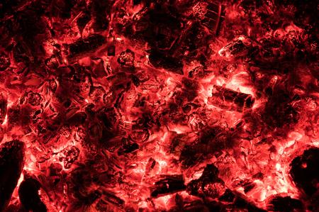 Charcoal fire left after a bonfire