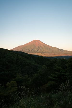 Mt. Fuji Turning Red in a Summer Morning