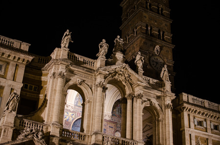 Basilica di Santa Maria Maggiore at night Stock fotó