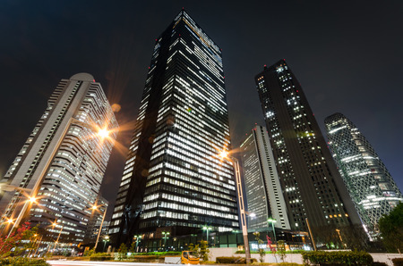 Skyscrapers in Tokyo at Night Banque d'images