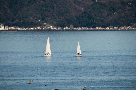 Yachts Sailing in a Calm Sea
