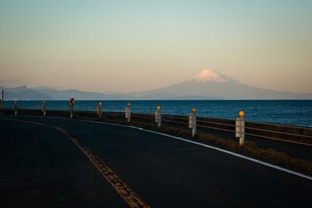 Mt. Fuji over the Seaside Road Stock fotó