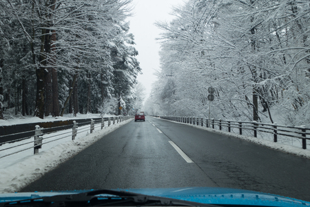 Driving on a Country Road in Winter