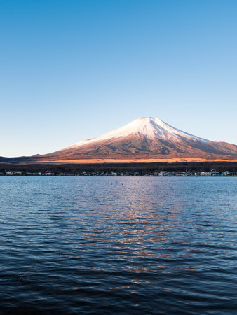 Mt. Fuji over Lake Yamanaka Stock fotó