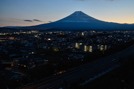 Mt. Fuji over a Provincial City and Highways