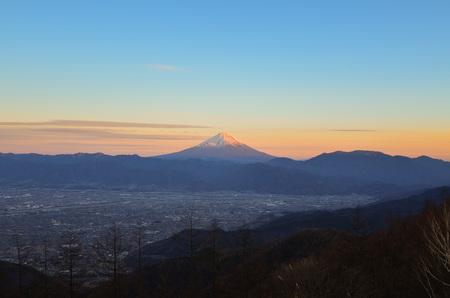 Mt. Fuji over the Kofu Basin from Mt. Amari