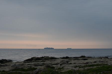 Tankers Floating in the Pacific Ocean