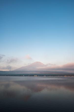 Mt. Fuji over Lake Yamanaka in a Summer Morning