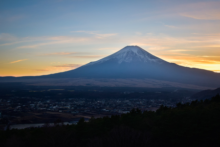 Mt. Fuji Captured from a Hill at Sunset