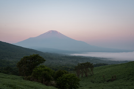 Mt. Fuji over a Lake Captured from a Hill in Summer Banque d'images