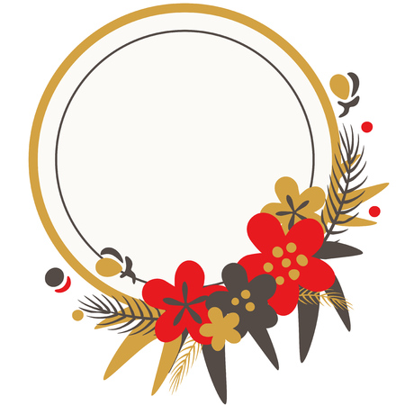 Illustration of a frame with plants and flower decorations