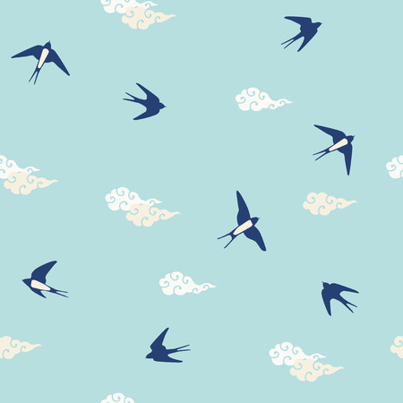 Seamless Pattern of Swallows Illustration