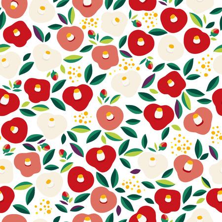 Seamless pattern of Camellia illustration 向量圖像